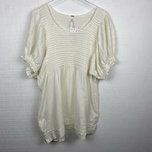Free People Elsie Tunic Ivory Puff Sleeves Linen